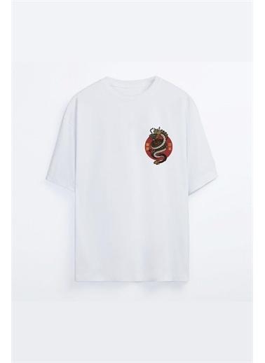 Oksit Victory Dragon Baskılı Oversize Unisex Tshirt Beyaz